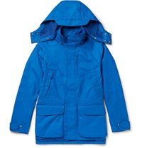 The Workers Club Rubberised Shell Hooded Jacket Cobalt Blue