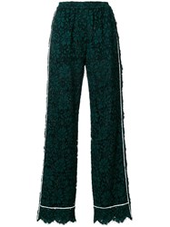 Dolce And Gabbana High Waist Lace Trousers With Contrast Piped Trim Green