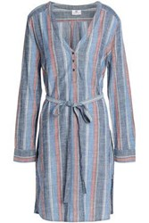Ag Adriano Goldschmied Belted Striped Cotton Shirt Dress Blue