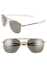 Women's Randolph Engineering 55Mm Polarized Aviator Sunglasses Gold Grey Polarized