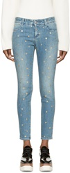 Stella Mccartney Blue And Gold Polka Dot Skinny Jeans