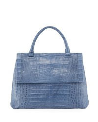 Nancy Gonzalez New Top Handle Crocodile Satchel Bag Blue Pattern