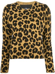 Marc Jacobs Leopard Print Sweater Brown