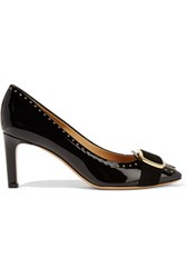 Salvatore Ferragamo Leonie Embellished Patent Leather Pumps Black
