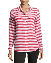 Equipment Slim Signature Striped Button Down Blouse Strawberry Red