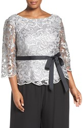 Alex Evenings Plus Size Women's Illusion Sleeve Metallic Lace Blouse
