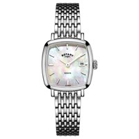 Rotary Women's Windsor Date Square Bracelet Strap Watch Silver Mother Of Pearl