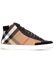 Burberry Checked Hi Top Sneakers Black