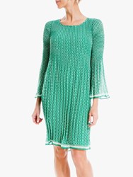 Max Studio Mini 3 4 Sleeve Geometric Print Pleated Dress Green Tulip Waves