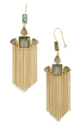 Sole Society Drama Drop Earrings Soft Polish Gold Labradorite