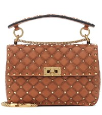 Valentino Garavani Rockstud Spike Medium Leather Shoulder Bag Brown