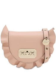 Red Valentino Ruffled Leather Shoulder Bag Nude