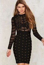 Top Of The Ladder Bandage Bodycon Dress Black