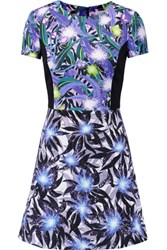 Peter Pilotto Astra Printed Stretch Crepe Mini Dress Bright Blue