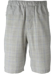 Oamc Prince Of Wales Check Knee Shorts Grey