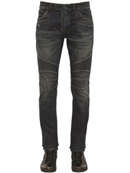 Balmain 16.5Cm Biker Washed Stretch Denim Jeans