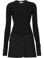 Burberry Tailored Hem Rib Knit Wool Mohair Dress Black