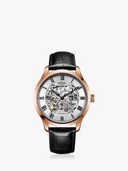 Rotary 'S Greenwich Skeleton Leather Strap Watch Black Silver Gs02942 01