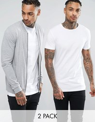 Asos Lightweight Muscle Jersey Bomber Jacket Muscle T Shirt Set Grey Marl White Multi