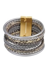 Saachi Braided Multi Cord Grey Bracelet Gray