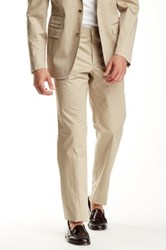 14Th And Union Flat Front Cotton Stretch Trouser 30 34' Inseam Beige