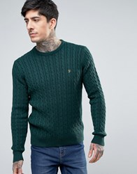 Farah Lewes Crew Jumper Cable Knit Slim Fit In Green Marl Cilantro Marl