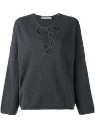 Vince Lace Up Knitted Top Grey