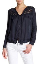 Silver Jeans Co. Long Sleeve Peasant Blouse Blue