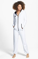Women's California Creative Republic 'Classic' French Terry Hooded Jumpsuit White