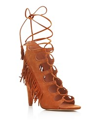 Sigerson Morrison Marita Fringe Lace Up High Heel Sandals Dark Tan