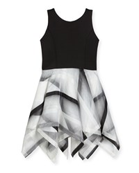 Zoe Layla Sleeveless Scuba And Organza Handkerchief Dress Black White Size 7 16 Black White