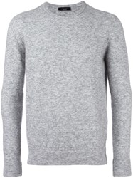 Roberto Collina Classic Ribbed Collar Jumper Grey