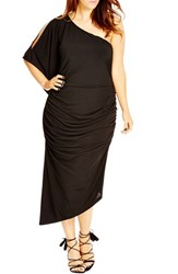 Plus Size Women's City Chic 'Black Drama' One Shoulder Midi Dress