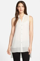 Women's Eileen Fisher Mandarin Collar Silk Tunic Bone