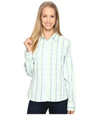 Columbia Silver Ridge Lite Plaid Long Sleeve Shirt Iceberg Plaid Women's Long Sleeve Button Up Blue