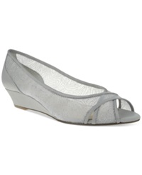 Nina Rigby Wedge Evening Pumps Women's Shoes Silver