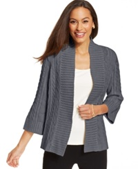 Charter Club Petite Cable Knit Metallic Open Front Cardigan