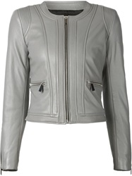 Barbara Bui Zipped Leather Jacket Grey