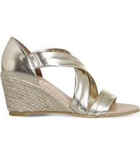 Office Maiden Suede Wedge Espadrille Sandals Gold Leather