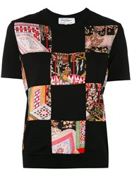 Salvatore Ferragamo Patchwork Jersey T Shirt Women Silk Virgin Wool L Black
