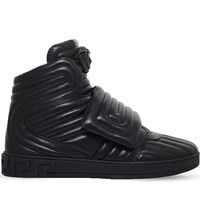 Versace Medusa Quilted Leather High Top Trainers Black