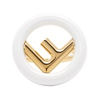 Gold And White 'F Is Fendi' Ring