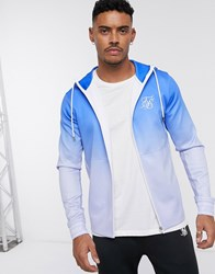 Sik Silk Siksilk Zip Through Hoodie In Blue Ombre Fade