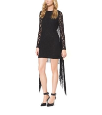 Michael Kors Lace Sleeve Fringe Trimmed Dress Black