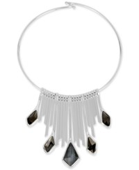 Robert Lee Morris Soho Silver Tone Multi Stone Fringe Wire Statement Necklace