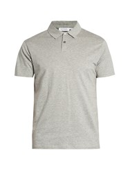 Sunspel Cotton Jersey Polo Shirt Grey