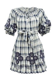 Innika Choo Hanus Floral Embroidered Checked Linen Dress Navy Multi