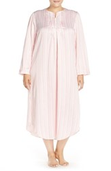 Plus Size Women's Carole Hochman Designs Satin Long Nightgown Stripe Ivory Pink Lemonade