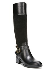Franco Sarto Lapis Leather Boots Wide Calf Black