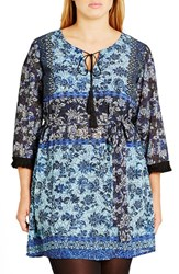 City Chic Plus Size Women's 'Freed' Tassel Trim Mix Print Tunic
